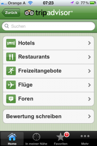 Screenshot der App Tripadvisor