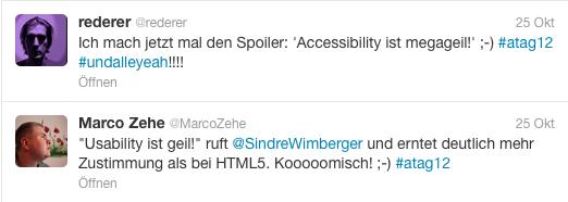 Screenshot von Twitter zum Vortrag von Sindre Wimberger