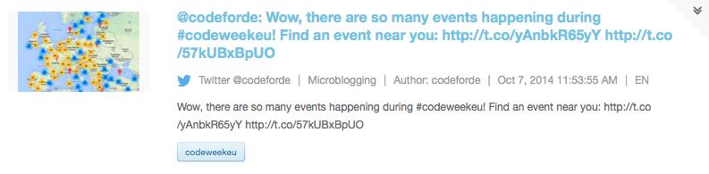 Screenshot of Social Media Monitoring Tool Opinion Tracker on European Code Week