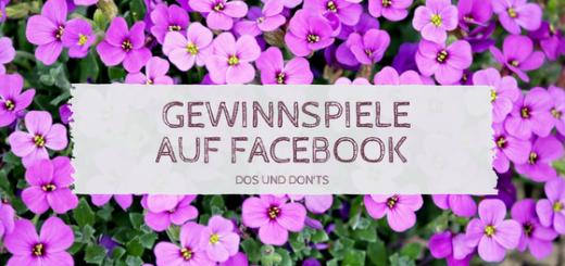 """violette Blumen und die Aufschrift """"Gewinnspiele auf Facebook - Dos und Dont's"""""""