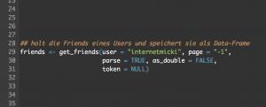 so schaut der Code für die Abfrage an die Twitter API mit RStudio aus