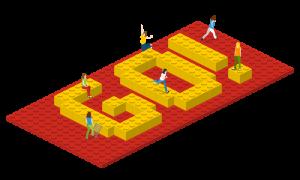 """Grafik: 3D Grafik mit Lego und dem Wort """"Go!"""""""