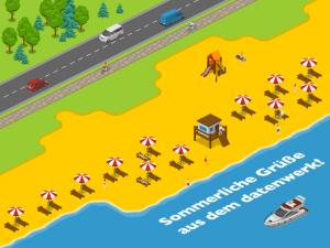 Grafik: Strand mit Liegestühlen, Schirmen und einem Boot iim Wasser.