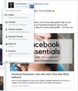 Bildrechte auf Facebook, achte immer auf die Privatsphäre Einstellungen