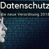 Frau von Hintergrund mit binären Daten zum Thema Datenschutz 2018