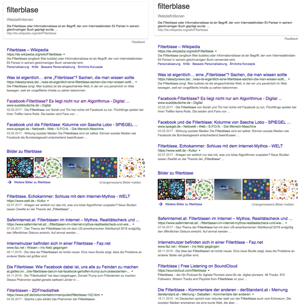 """Beispiel für zwei Suchanfragen nach """"Filterblase"""" bei Google"""