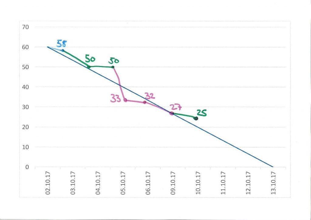 Burndown Chart im Scrum Projekt