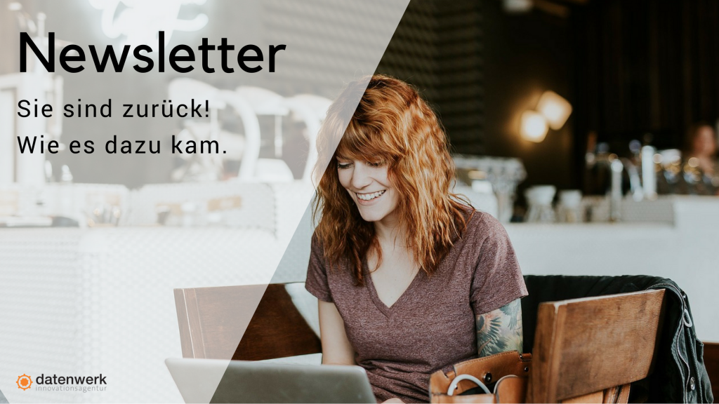 Grafik Foto Frau liest am Laptop Newsletter