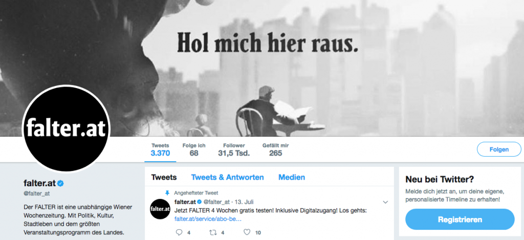 Screenshot des Twitter-Profil von falter_at, dessen Netzwerk analysiert wurde