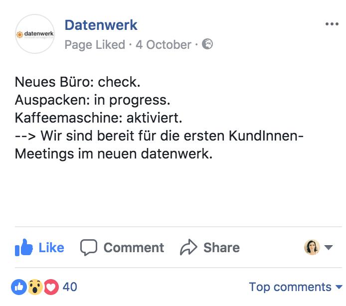 Ein Facebook-Post über den Einzug ins neue Datenwerk-Büro
