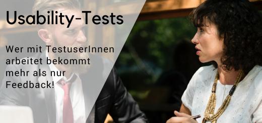 Bild von zwei Menschen mit Text darüber zu Usability-Tests