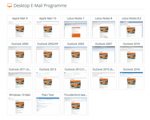 Screenshot aus dem Online-Kampganen-Tester von eyepin.com. Er zeigt einen Newsletter-Design in unterschiedlichen Desktop-Clients.