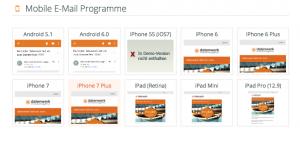 Screenshot aus dem Online-Kampganen-Tester von eyepin.com. Er zeigt einen Newsletter-Design in unterschiedlichen mobilen Clients.