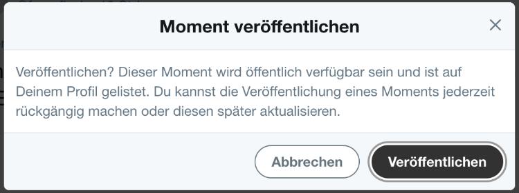 Twitter Moment veröffentlichen