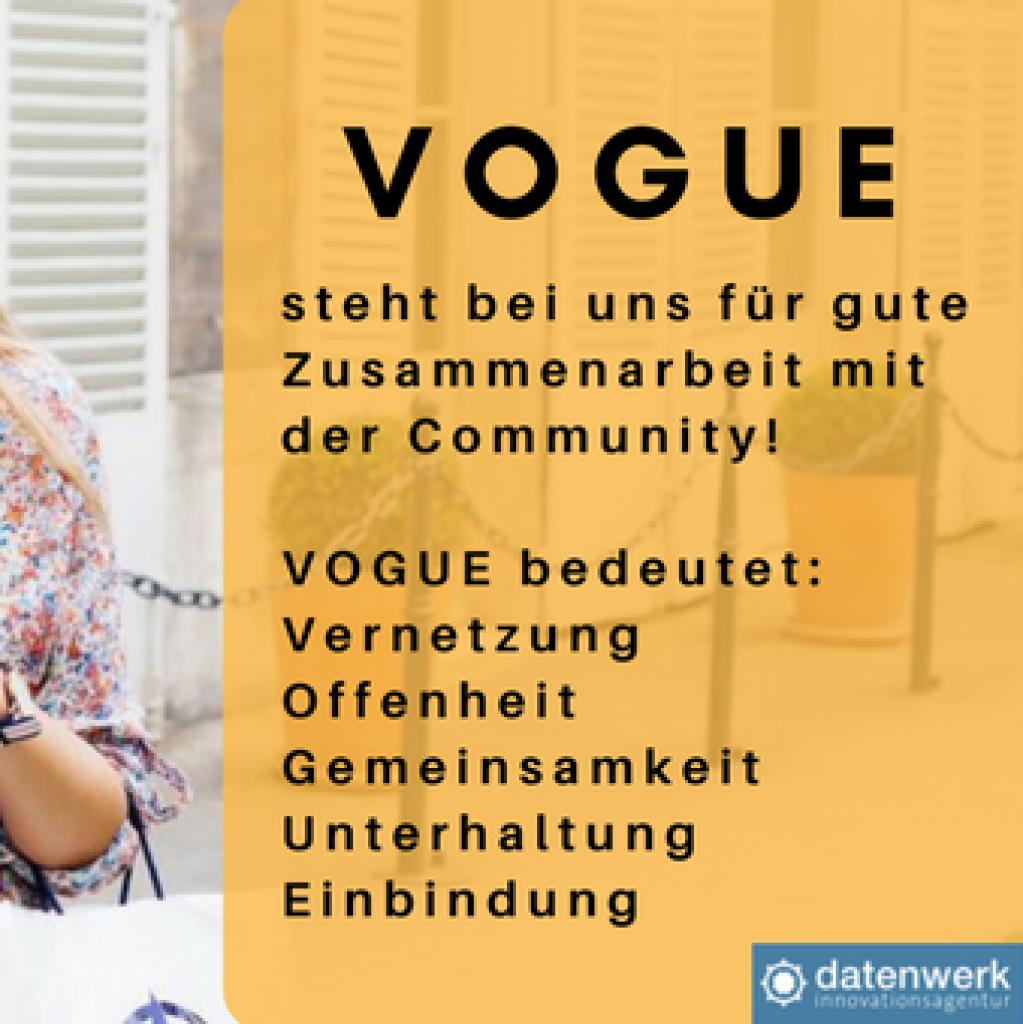 Foto von Frau mit Handy, Text darüber beschreibt die VOGUE Prinzipien