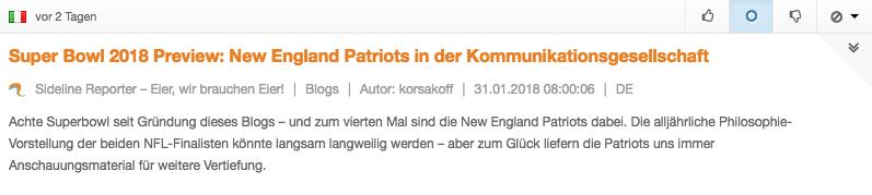 Screenshot aus dem Opinion Tracker zu einem Blogbeitrag über die New England Patriots