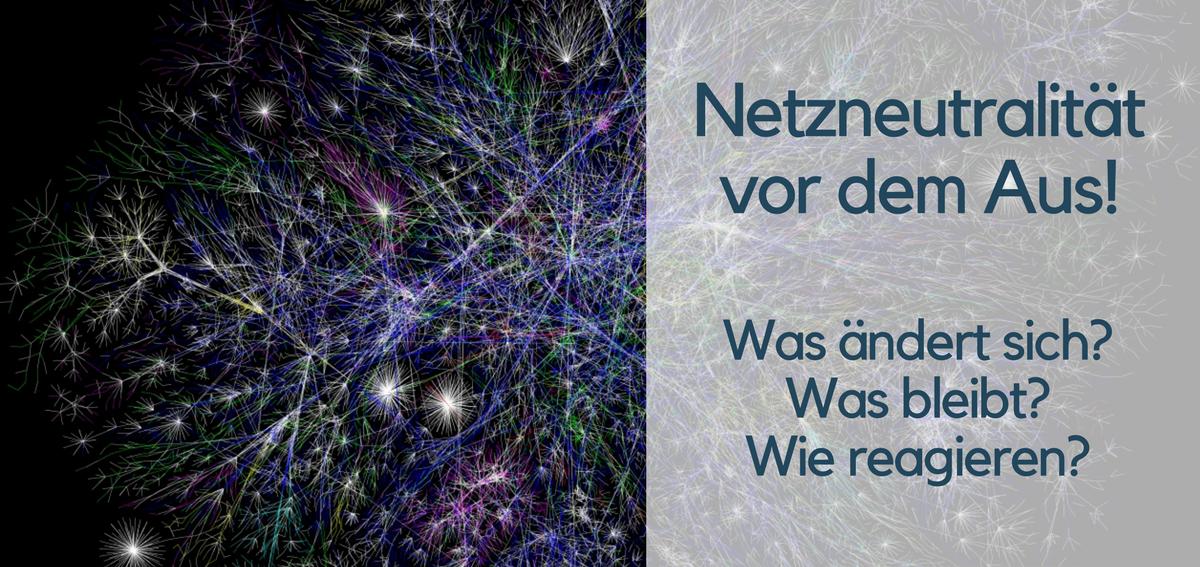 Bild mit Netzgrafik und Titel zu Netzneutralität. Bildquelle www.opte.org