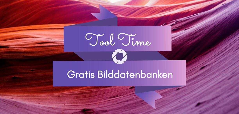 """Grafik: Lila Hintergrund mit der Aufschrift """"Tool Time - Gratis Bilddatenbanken"""" und ein Kamera-Icon"""