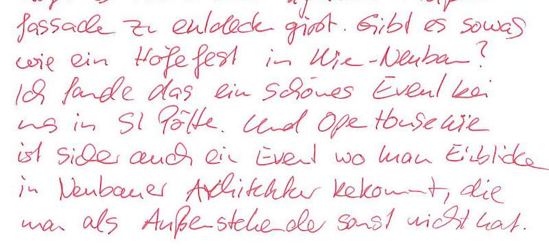 """Beispiel Freewriting mit dem Text: """"Gibt es sowas wie ein Höfefest in Wien-Neubau? Ich fand das ein schönes Event bei uns in St. Pölten. Und Open House Wien ist sicher auch ein Event, wo man Einblicke in Neubauer Architektur bekommt, die man als Außenstehender sonst nicht hat."""""""