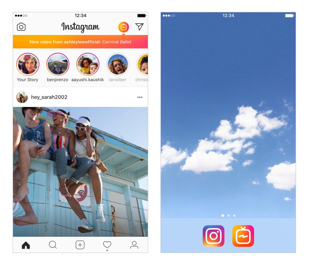 screenshot fon instagram app mit IGTV