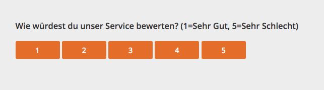Screenshot einer Umfrage: Wie würdest du unser Service bewerten (1=Sehr Gut, 5=Sehr schlecht) Buttons mit den Zahlen 1,2,3,4 und 5
