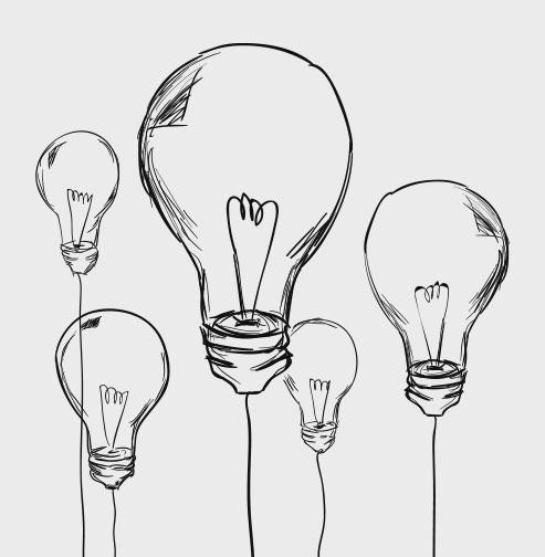 Illustration: Fünf Glühbirnen in unterschiedlichen Größen