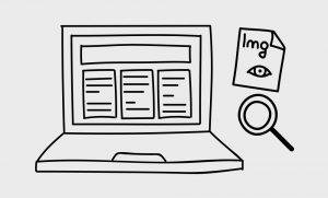 Illustration: Ein Computer mit Lupe und einem Bild-Symbol daneben