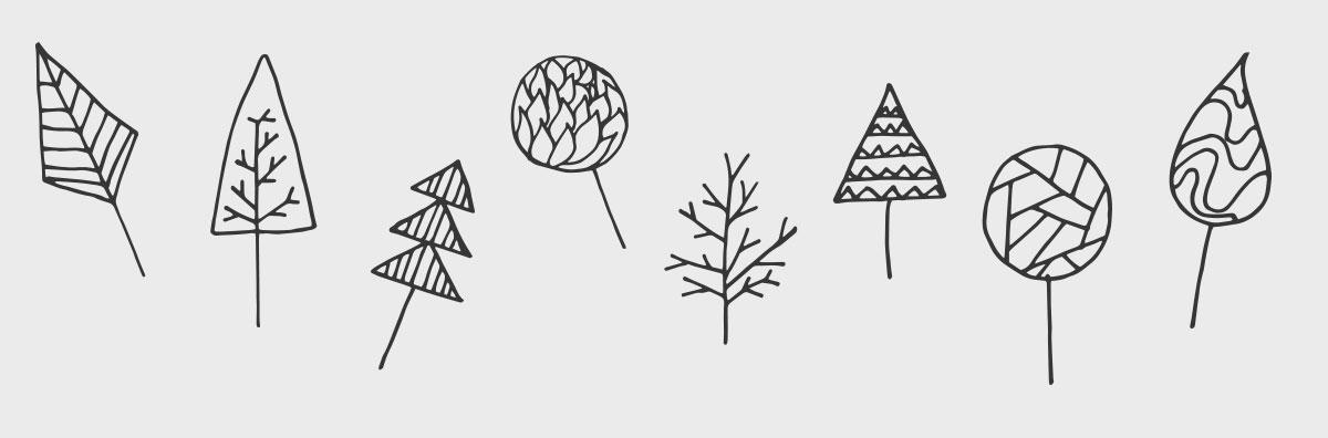 Illustration: Abstrahierte Bäume, die aus einfachen Formen gezeichnet wurden