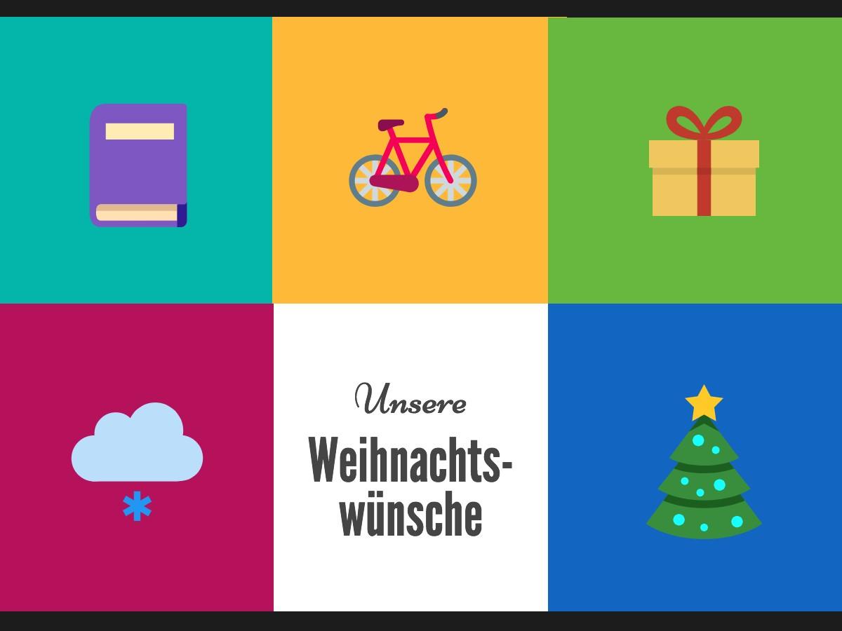 Grafik: Bunte Quadrate mit weihnachtlichen Icons und dem Text: Unsere Weihnachtswünsche