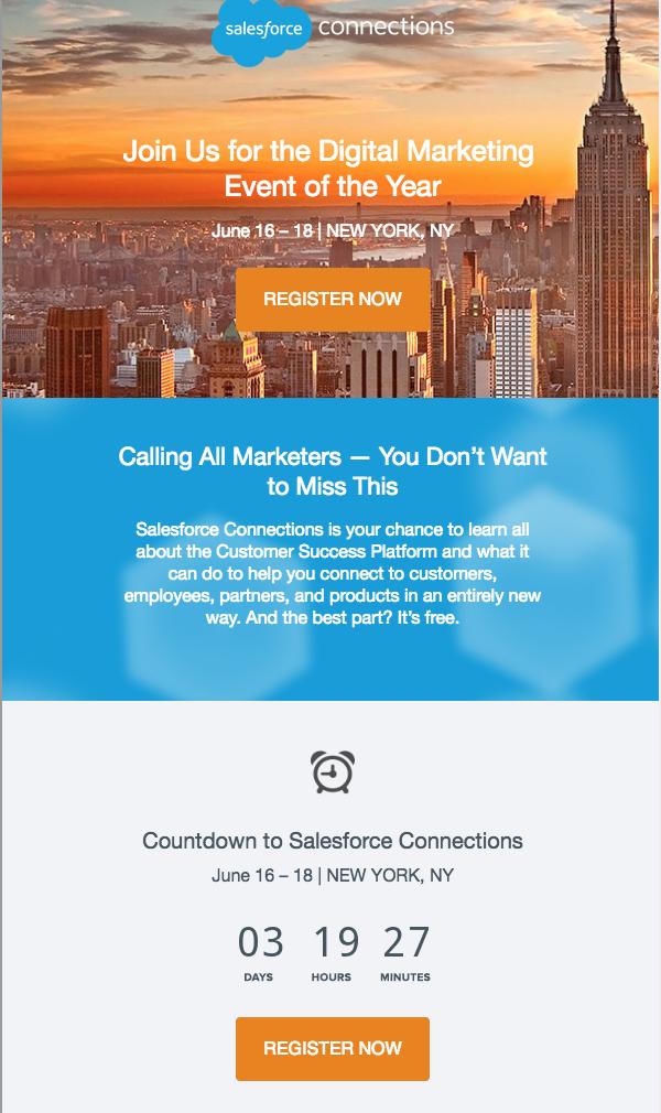 Ein Screenshot einer Mail von Salesforce.com mit dynamischen Countdown - einem Newsletter Trend für 2019