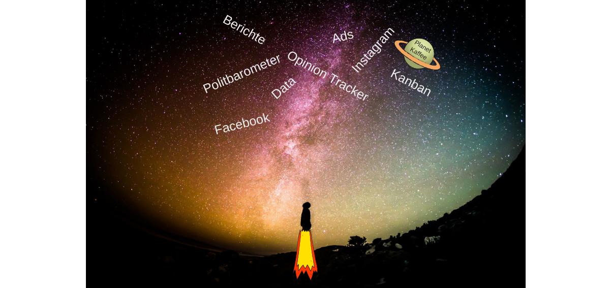 """Bild mit Sternenhimmel im Hintergrund. Eine Rakete startet am Boden. Im oberen Dritte eine Wordcloud und der """"Planet Kaffee"""""""