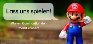 """Headerbild mit Super Mario, der sagt """"Lass uns spielen!"""""""