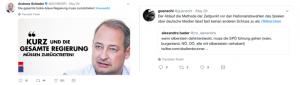 """Tweet von Andreas Schieder am 20. Mai: """"Die gesamte türkis-blaue Regierung muss zurücktreten! #neuwahl"""" und einem Bild von Andreas Schieder mit Schriftzug: """"Kurz und die gesamte Regierung müssen zurücktreten"""" sowie dem SPÖ Europa Logo. Daneben Tweet von Twitter User guenschl, der Twitter User Alexandra Bader retweetet. Tweet von Bader: """"Wenn Silberstein dahintersteckt, muss die SPÖ führung gehen (wien, burgenland, NÖ, OÖ, alle mit silberstein verhabert). Anmerkung von User guenschl in seinem Retweet: """"Der Ablauf die Methode der Zeitpunkt vor den Nationalratswahlen das Spielen über deutsche Medien lässt fast keinen anderen Schluss zu als #Silberstein"""""""