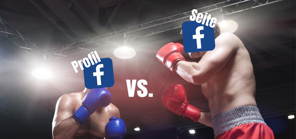 Das Bild zeigt zwei Boxer die sich im Ring gegenüber stehen. Über ihren Köpfen befinden sich Facebook Logos mit den Beschriftungen Profil und Seite.