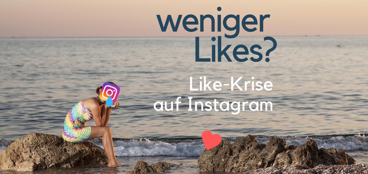 Titelbild: Frau mit Instagram Logo als Kopf trauert am Strand um ein einzelnes Like, das ihr gegenüber sitzt.