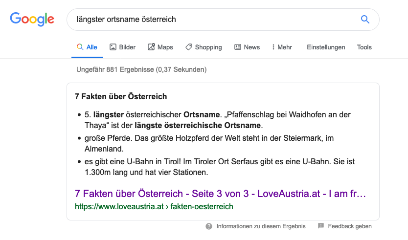 Screenshot aus der Google Suche, der zeigt wie das Featured Snippet gemäß dem user intent angezeigt wird