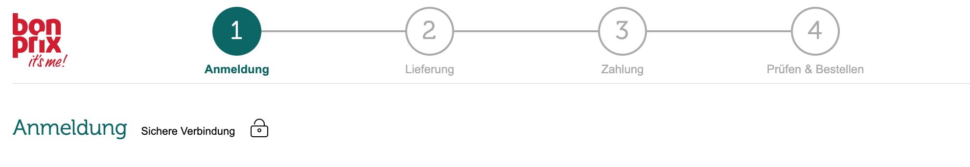 Das Bild zeigt einen Checkout-Prozess bei einem Onlineshop. Dieser besteht aus 4 Schritten, die von eins bis vier durchnummeriert sind. Eins: Anmeldung, zwei: Lieferung, drei: Zahlung, vier: Prüfen & Bestellen. Jeweils der Schritt bei dem sich der User*Inn befindet, ist grün hervorgehoben. Nutze diesen Mechanismen der Psychologie bei mehrschrittigen Aufgaben, um die User Experience zu verbessern.