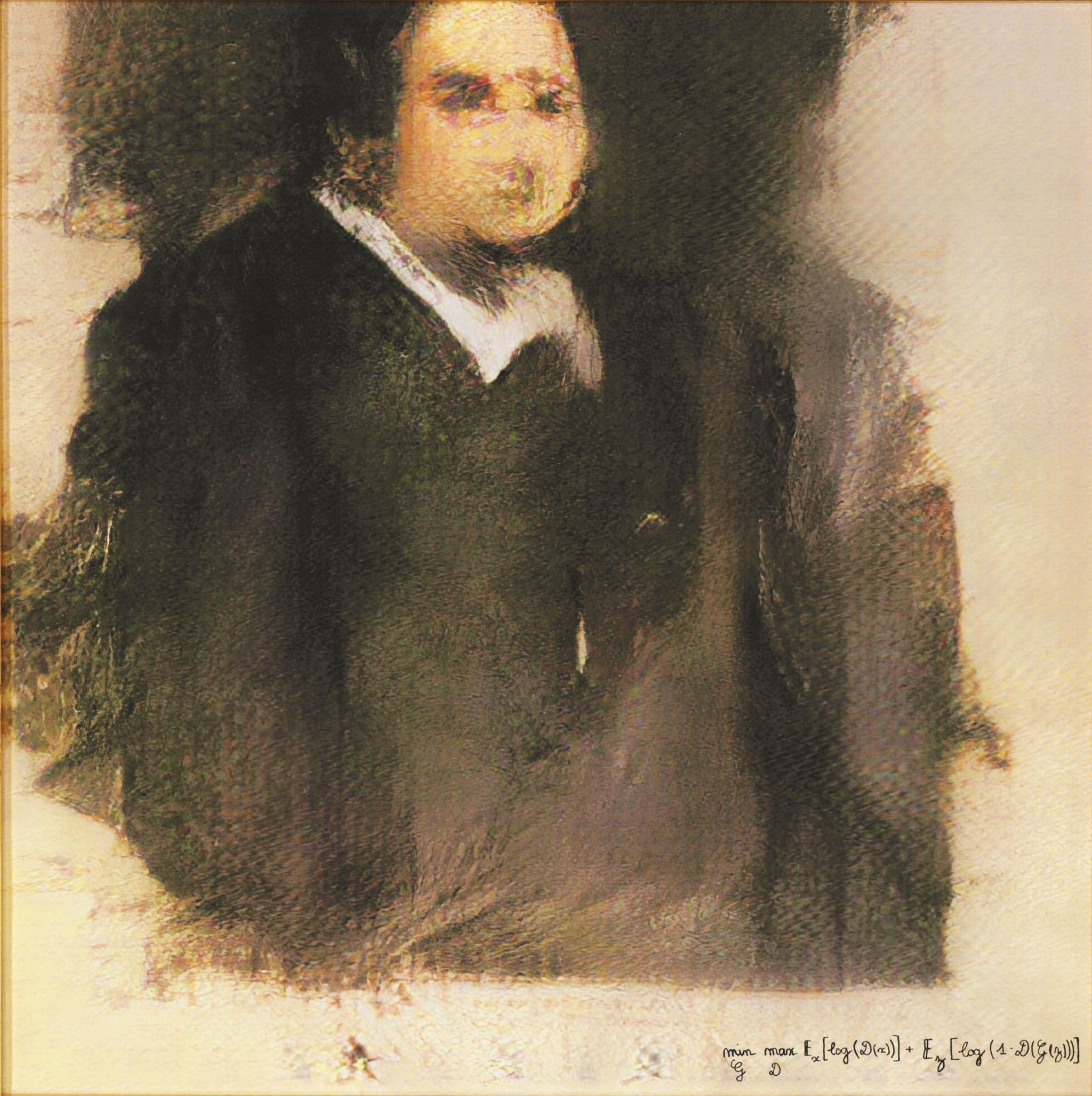 Das Bild zeigt ein von einer Artificial Intelligence gezeichnetes Gemälde, genauer gesagt ein Portrait von einem Mann.