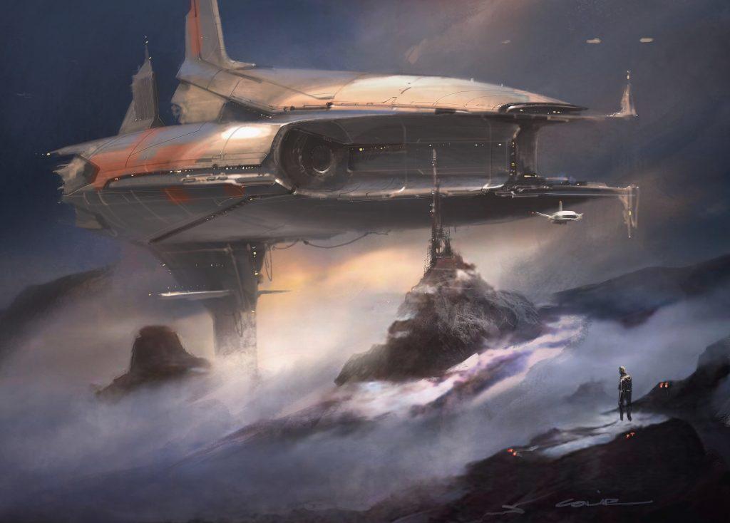 Zu sehen ist eine Sci-Fi Szene. In nobelumwobenen, felsigem Gelände ragt im Hintergrund ein Raumschriff hervor. Artificial Intelligence wurde verwendet um diese Kunst zu erschaffen.