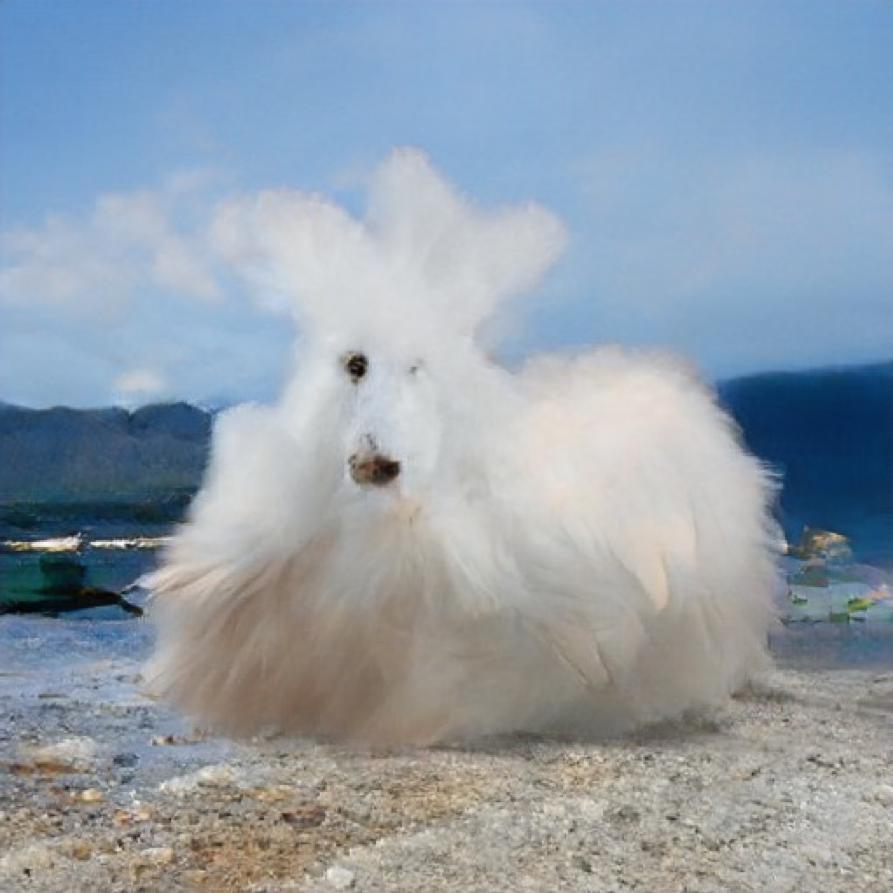 Das Bild zeigt eine Mischung aus einem pudel-artigen Hund mit weißem Fell und einer Wolke. Das Wesen nimmt den Großteil des Bildes ein und sitzt zentral vor einem Hintergrund, welcher mit einer Berglandschaft vergleichbar ist.