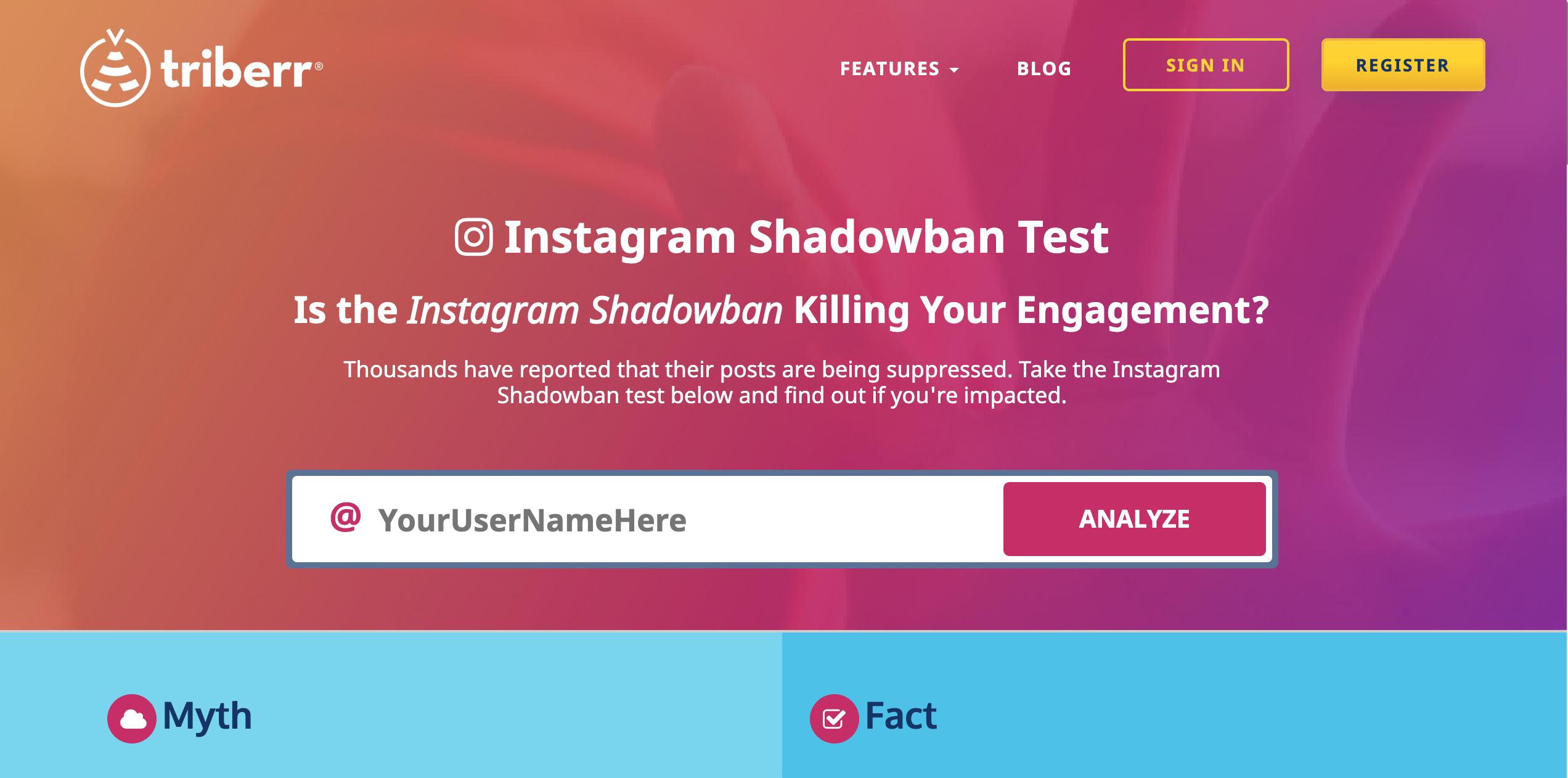 Das Bild zeigt einen Screenshot der Triberr Webseite. Damit kannst du schauen ob dein Instagram Account von einem Shadowban betroffen ist.