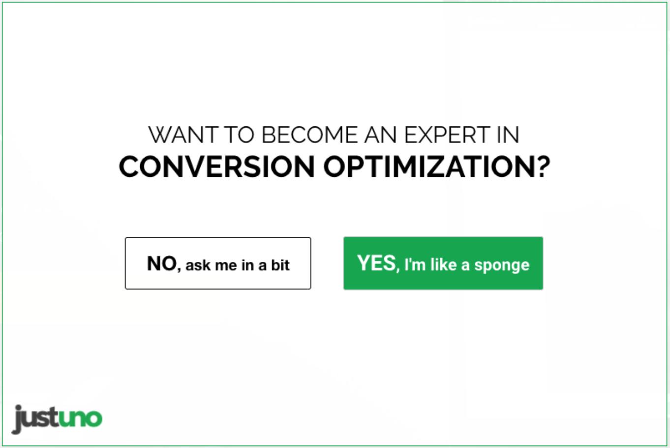 """Das Bild zeigt eine Anmeldeform. Darauf ist zu lesen: """"Want to become an expert in conversion optimization?"""". UserInnen können sich dann zwischen den beiden Buttons """"No, ask me in a bit"""" und """"Yes, I'm like a sponge"""" entscheiden."""