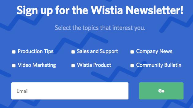 Das Bild zeigt ein Anmeldeformular für einen Newsletter. Dabei kann man zwischen mehreren verschiedenen Themen auswählen.
