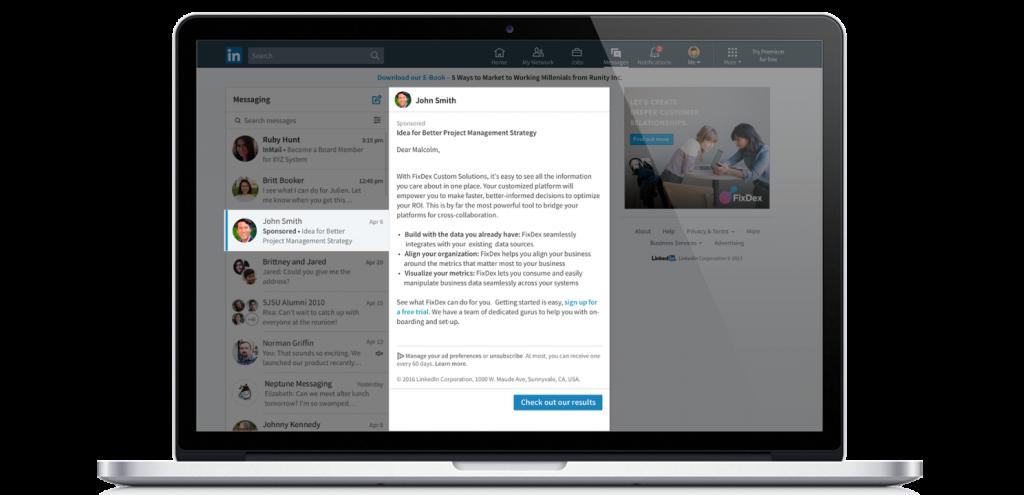 Darstellung von LinkedIn sponsored InMail Ads am Desktop