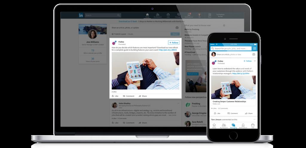 Darstellung von LinkedIn sponsored content Ads am Desktop und Smartphone