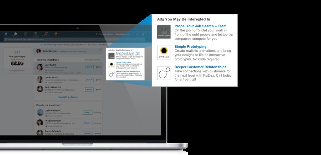 Darstellung von LinkedIn Text Ads am Desktop