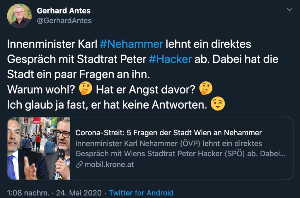 """Tweet mit Text """"Innenminister Karl #Nehammer lehnt ein direktes Gespräch mit Stadtrat Peter #Hacker ab. Dabei hat die Stadt ein paar Fragen an ihn. Warum wohl? Denkendes Gesicht Hat er Angst davor? Denkendes Gesicht Ich glaub ja fast, er hat keine Antworten. Zwinkerndes Gesicht"""""""
