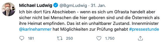 Tweet_Michael Ludwig_31. Jänner 2021