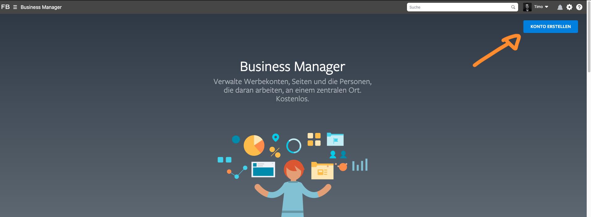Startseite Facebook Business Manager Konto erstellen