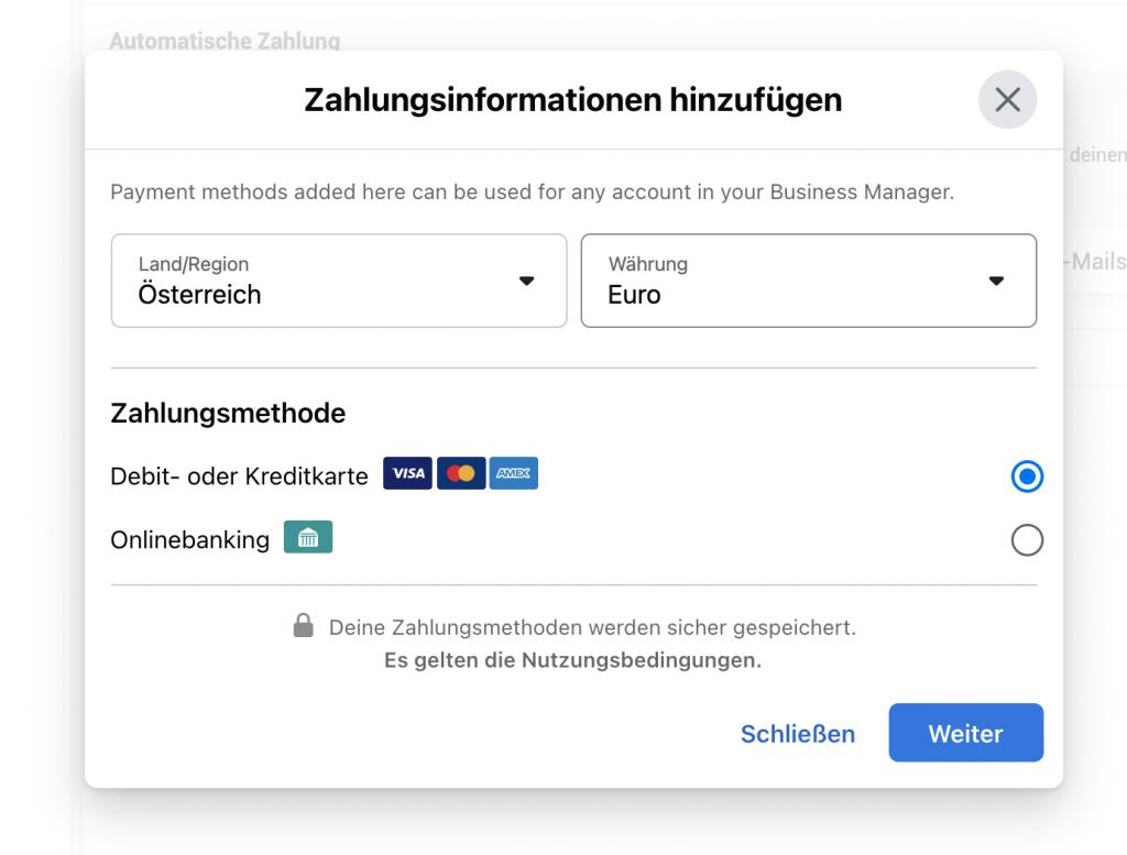 Facebook-Business-Manager-Zahlungsmethoden einrichten